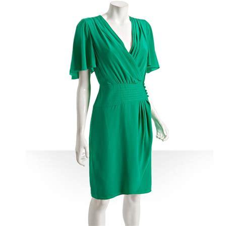 Satin Wrap Top Emerald lyst bcbgmaxazria emerald green silk wrap dress in green