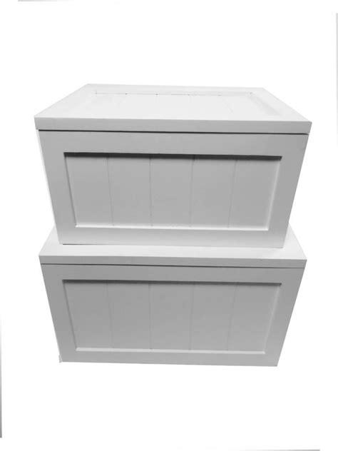 Diy Wooden Storage Box White shabby chic white brown pine wooden laundry basket box