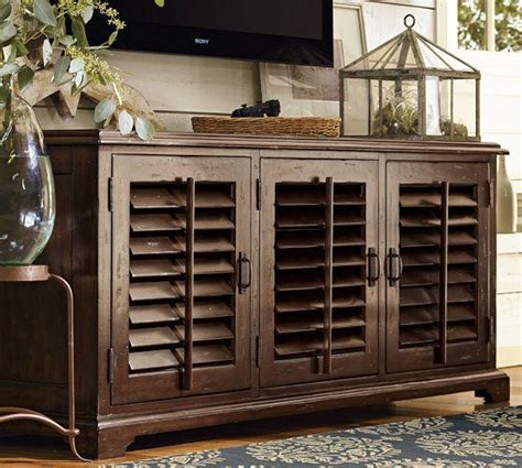 Shuttered Door Tv Stand by Holstead Shutter Large Media Console Pottery Barn