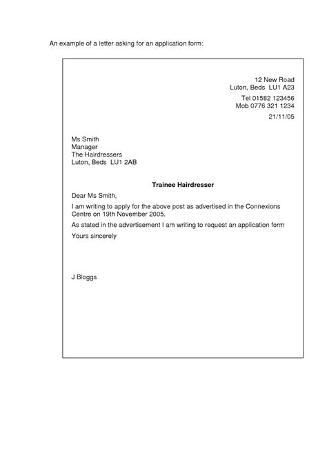 exle of a simple cover letter letter of application letter of application sle