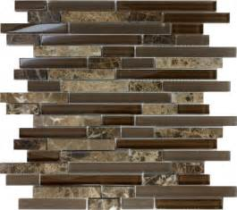 Wall Tiles Kitchen Backsplash Sample Brown Glass Natural Stone Linear Mosaic Tile Wall