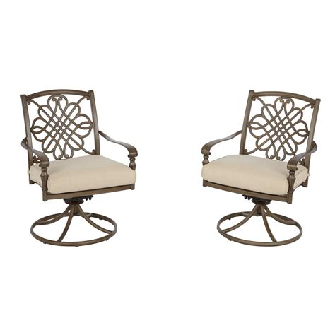 Hton Bay Swivel Patio Chairs Hton Bay Cavasso Swivel Rocking Metal Outdoor Dining Chair With Oatmeal Cushion 2 Pack
