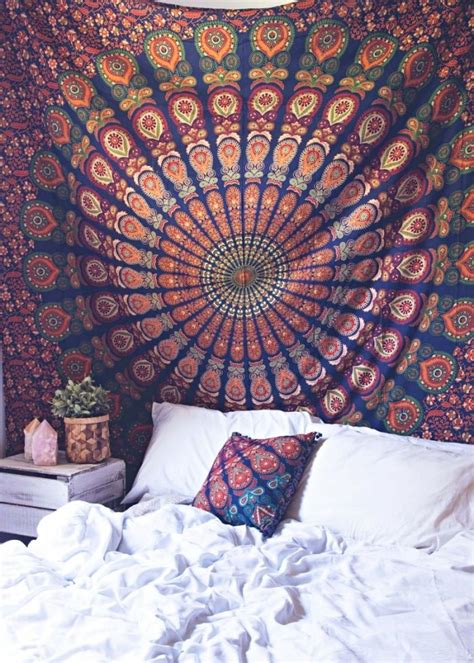 bed tapestry blue multi good vibes mandala medallion wall tapestry