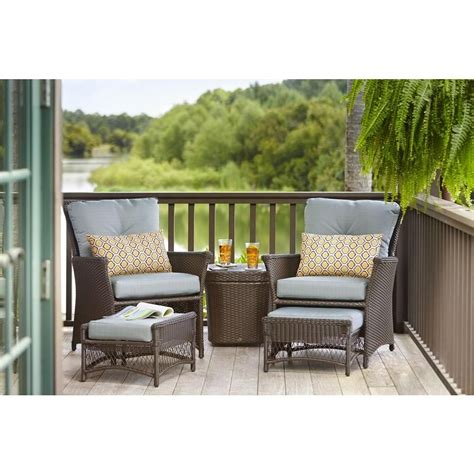 hampton bay blue hill  piece woven patio chat set