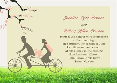 Cheap Bicyle Bride & Groom Cherry Blossom Invitations For Garden Spring Weddings EWI107 as low