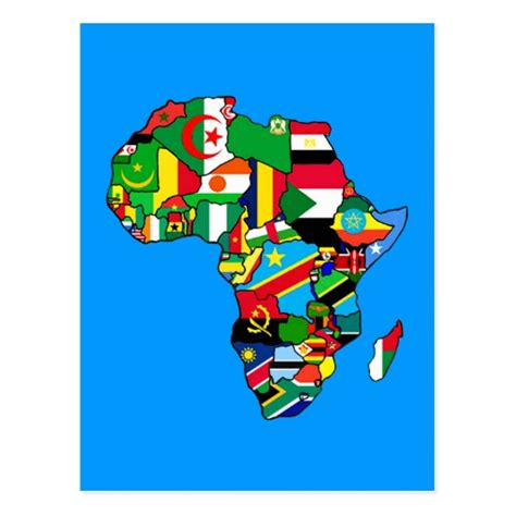 africa map flags map of africa flags within country maps postcard