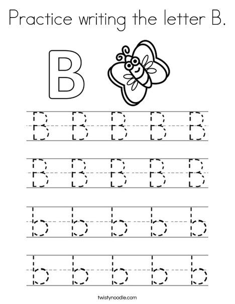 coloring page for the letter b practice writing the letter b coloring page twisty noodle