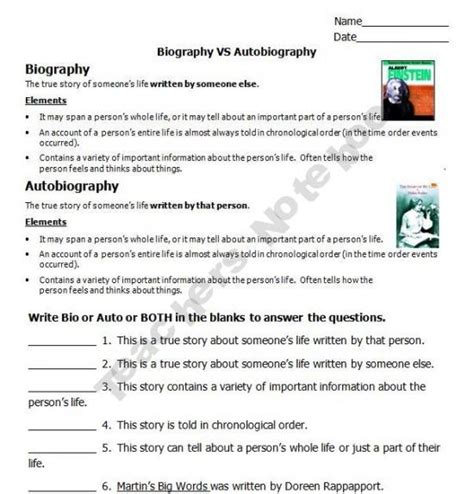 biography and autobiography have this in common biography vs autobiography ela education pinterest