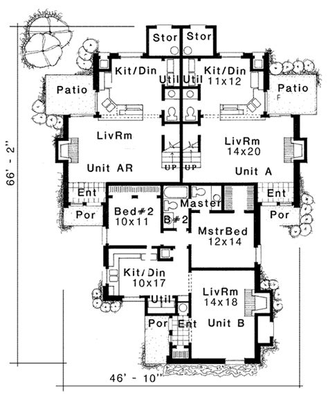 multi family house floor plans multi family plan 92292 at familyhomeplans com