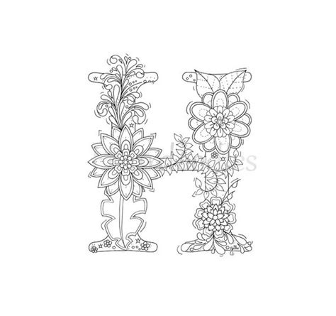 H Coloring Pages For Adults by Coloring Page Floral Letters Alphabet H