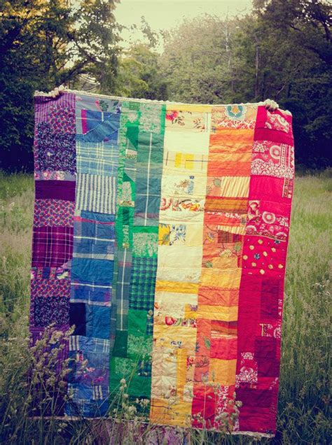 Rainbow Patchwork Quilt - pride quilt rainbow patchwork throw quilt made to