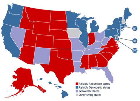 define swing states swing bellwether and red and blue states demographics