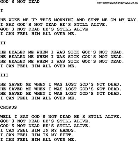 Printable Lyrics To God S Not Dead | country southern and bluegrass gospel song god s not dead