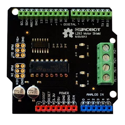 code for arduino motor shield dfrobot 1a motor driver arduino shield