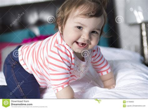 one year old bed one year old girl in bed stock photo image 61769900