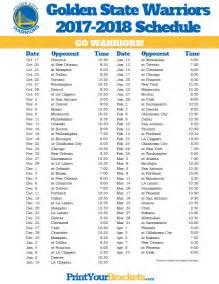 printable golden state warriors schedule 2017 2018