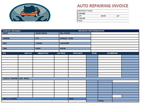 Auto Repair Invoice Template   invoice example