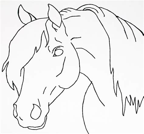 simple horse coloring page horse head lineart by bluemoon124 on deviantart