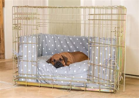 puppy crate in bedroom or not dog crate bumper and cushion set in grey spot from lords