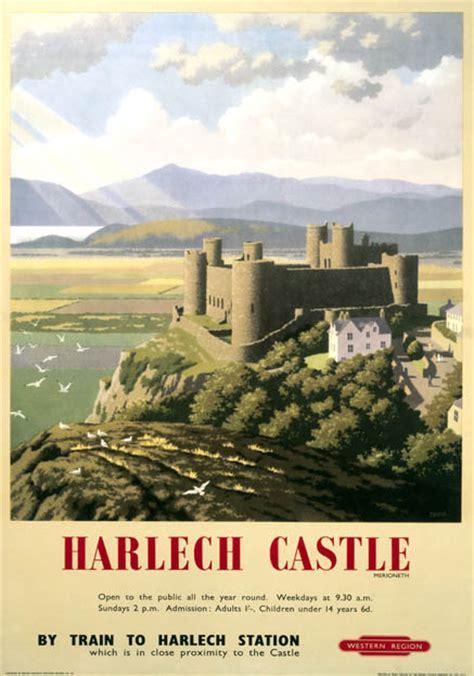 harlech castle gwynedd br wr vintage travel poster