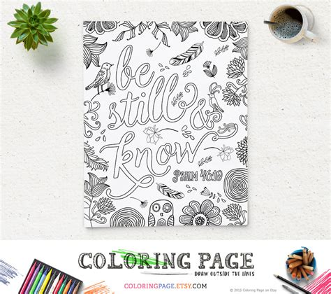 coloring book in his name for his books coloring page printable bible verse psalm 46 10 be still