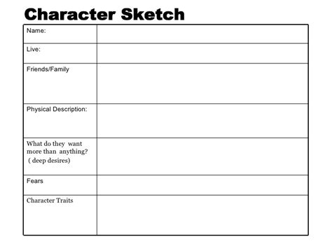 character sketch template teaching for understanding in fiction