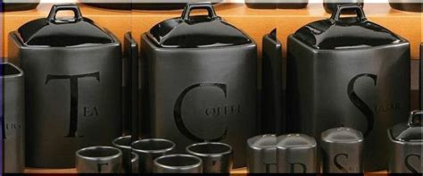 tea coffee sugar jar set kitchen storage canisters black ceramic lids handles ebay