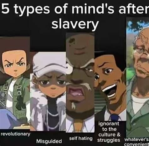 types of black people 5 types of minds after slavery boondocks so true