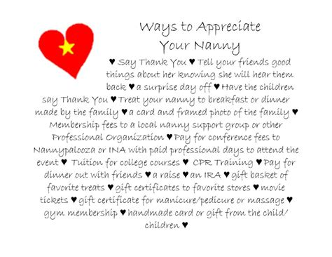 ways to appreciate your nanny regarding nannies