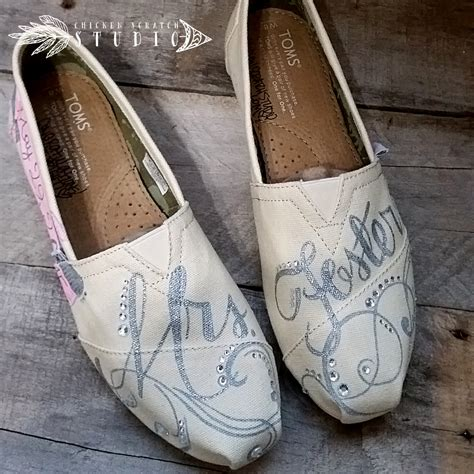 Toms Shoes Gift Card - custom hand painted canvas toms shoes personalized wedding with rhinestones