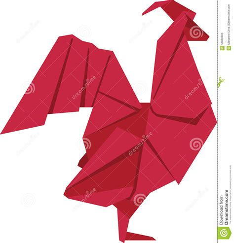 new year 3d origami rooster stock illustration image 58686906