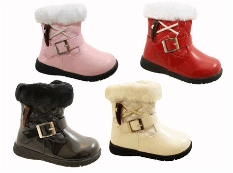 size 5 toddler boots infant toddler baby patent fur winter ankle