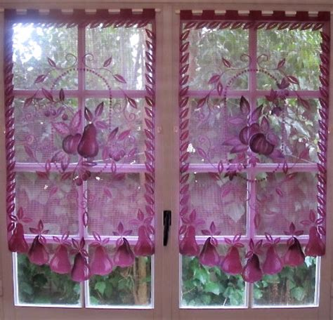 aubergine lace curtains pair curtains purple kitchen