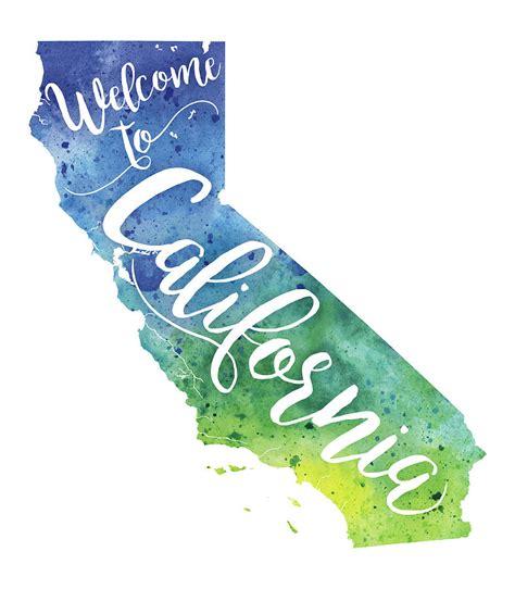 California Andrea california watercolor map welcome to california
