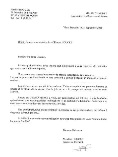 Modèle De Lettre De Remerciement D Une Association lettre de remerciement professionnel images