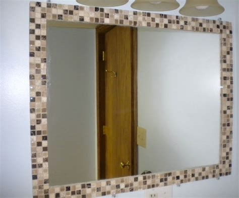 how to frame a bathroom mirror with mosaic tiles how to mosaic tile a mirror diy from not super just mom