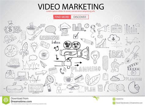 doodle interpretation marketing concept with doodle design style stock
