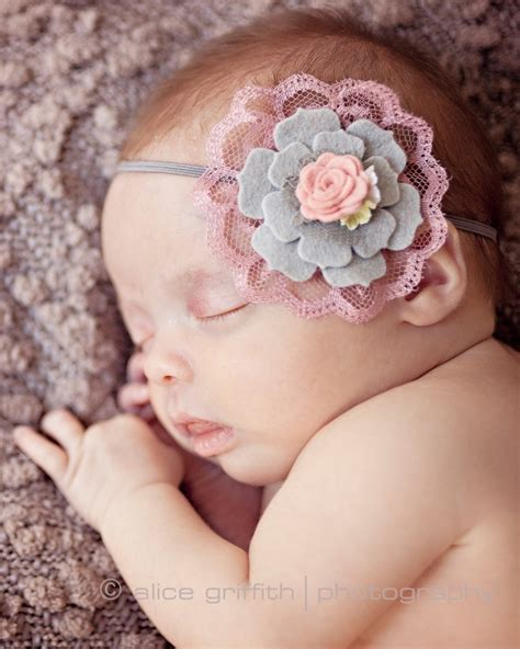 how to make baby flower headbands gray and dusty pink headband felt flower headband vintage headband