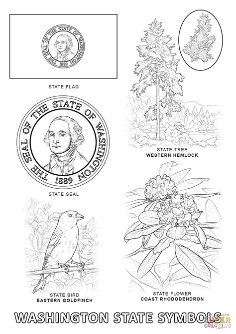 washington state symbols coloring page free printable