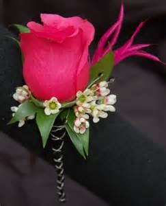pink corsage pink boutonniere premiere