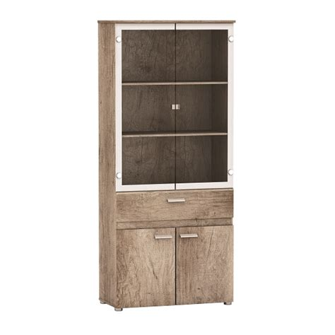 Oak Display Cabinets With Glass Doors Kelso Glass Display Cabinet In Monument Oak With 4 Doors