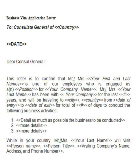 Formal Letter Visa Application 44 Business Letter Exles