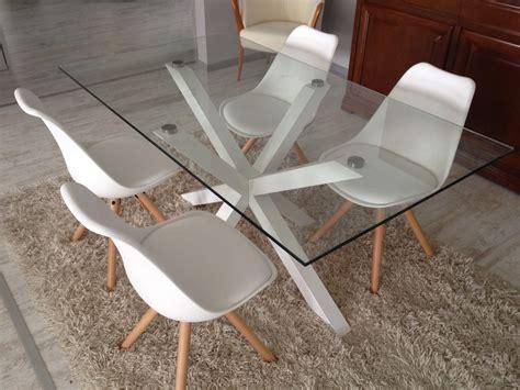 tavolo con sedie tavolo in vetro da l 160x90 con sedie bianche 24