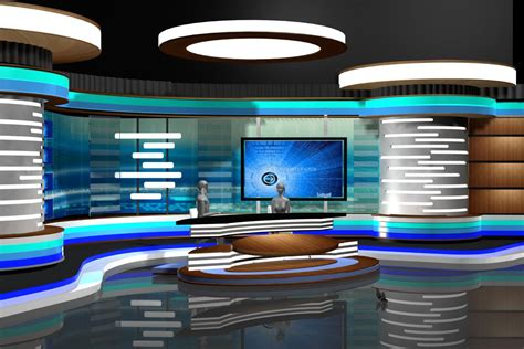 design net tv tv news room studio 002 3d model