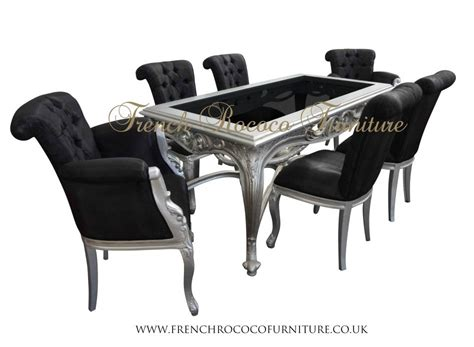 Furniture: Louis Black Glass And Steel Dining Collection