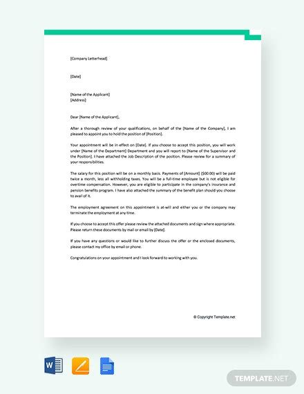 standard job appointment letter template word