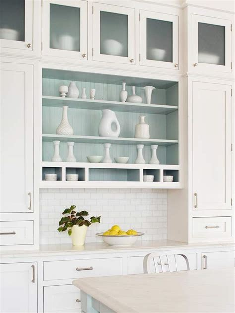 kitchen cabinets open shelving open kitchen shelving cottage kitchen bhg