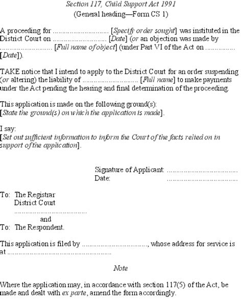 Child Support Objection Letter Sle Child Support 1992 Sr 1992 58 As At 03 September 2007 Schedule 1 Forms New Zealand