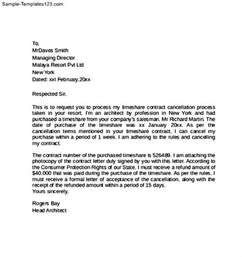 Cancellation Letter Sample For An Event Timeshare Contract Cancellation Letter Sample Templates
