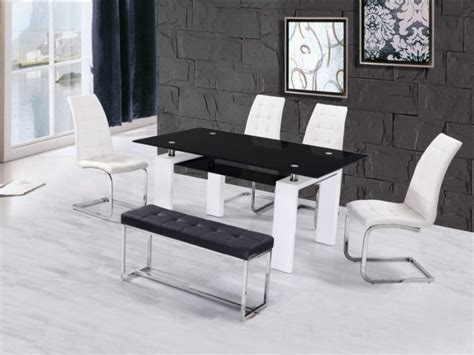 high gloss glass dining table with 4 chairs bench